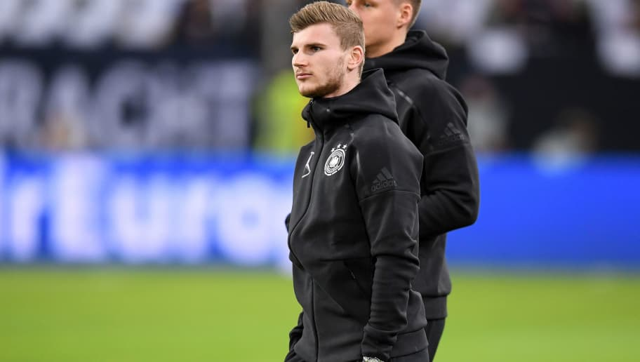 DUESSELDORF, GERMANY - MARCH 23:  Timo Werner of Germany looks on prior to the International friendly match between Germany and Spain at Esprit-Arena on March 23, 2018 in Duesseldorf, Germany.  (Photo by Matthias Hangst/Bongarts/Getty Images)