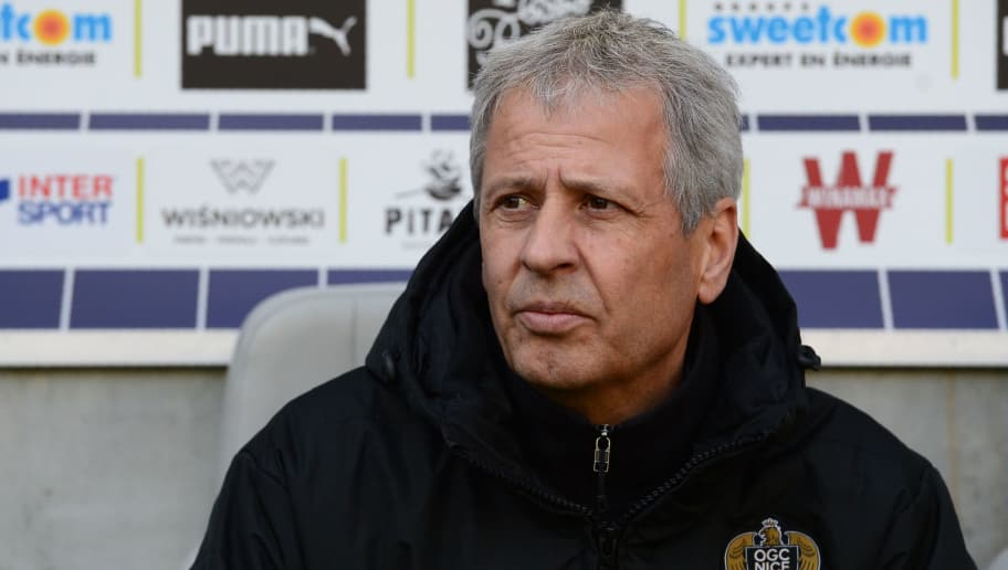 Nice's Swiss head coach Lucien Favre looks on during the French L1 football match between Bordeaux (FCGB) and Nice (OGCN) on February 25, 2018, at the Matmut Atlantique stadium in Bordeaux, southwestern France. / AFP PHOTO / NICOLAS TUCAT        (Photo credit should read NICOLAS TUCAT/AFP/Getty Images)