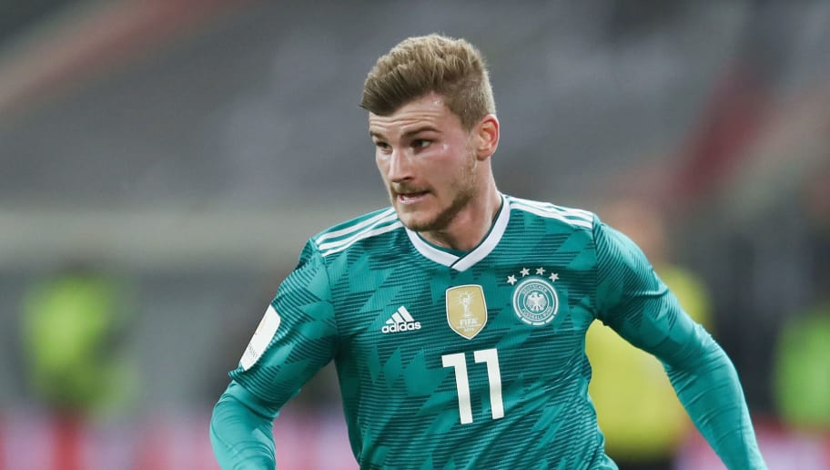 DUESSELDORF, GERMANY - MARCH 23: Timo Werner of Germany controls the ball during the international friendly match between Germany and Spain at Esprit-Arena on March 23, 2018 in Duesseldorf, Germany.  (Photo by Alex Grimm/Bongarts/Getty Images)