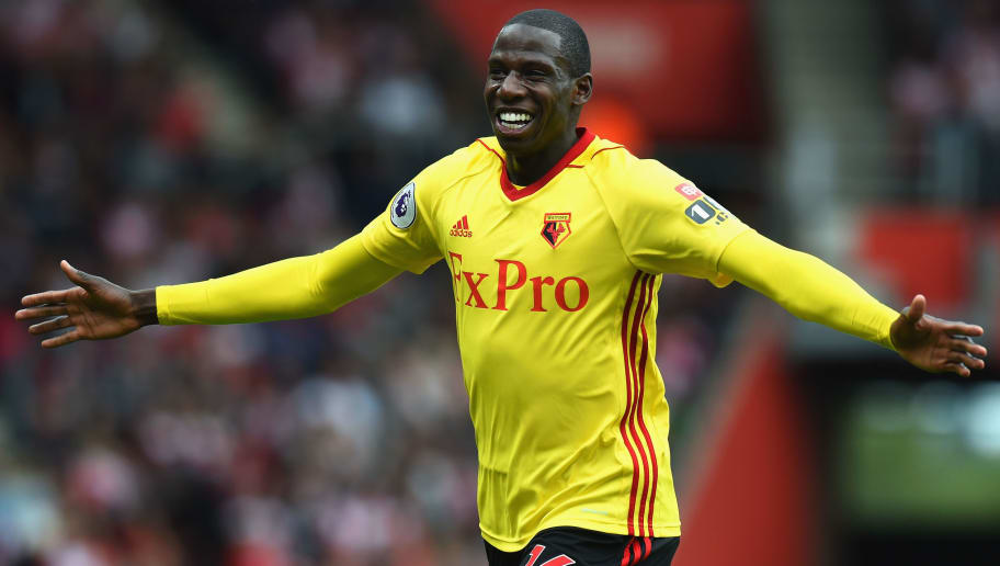 SOUTHAMPTON, ENGLAND - SEPTEMBER 09:  Abdoulaye Doucoure of Watford celebrates after scoring his sides first goal during the Premier League match between Southampton and Watford at St Mary's Stadium on September 9, 2017 in Southampton, England.  (Photo by Tony Marshall/Getty Images)