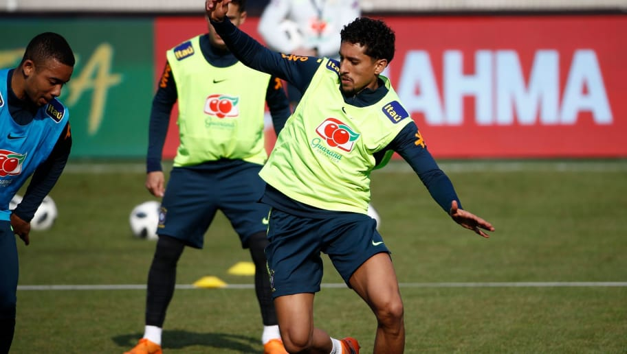 Brazil's defender Marquinhos attends a training session of the Brazilian team ahead of their friendly football match Germany vs Brazil in Berlin, Germany, on March 25, 2018, in preparation of the 2018 Fifa World Cup. Germany plays against Brazil on March 27, 2018. / AFP PHOTO / Odd ANDERSEN        (Photo credit should read ODD ANDERSEN/AFP/Getty Images)