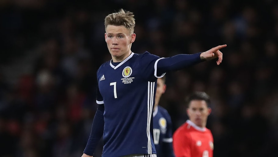 GLASGOW, SCOTLAND - MARCH 23:  Scott McTominay of Scotland is seen during the Vauxhall International Challenge match between Scotland and Costa Rica at Hampden Park on March 23, 2018 in Glasgow, Scotland. (Photo by Ian MacNicol/Getty Images)
