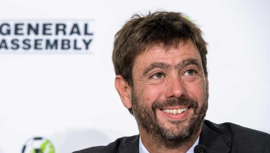 Newly elected Chairman of ECA (European Club Association) Andrea Agnelli attends a press conference after his election during the ECA 19th General Assembly on September 5, 2017 in Geneva.   / AFP PHOTO / Fabrice COFFRINI        (Photo credit should read FABRICE COFFRINI/AFP/Getty Images)