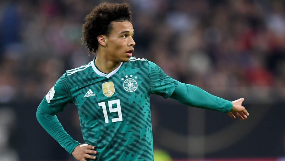DUESSELDORF, GERMANY - MARCH 23:  Leroy Sane of Germany gives his team instructions during the International friendly match between Germany and Spain at Esprit-Arena on March 23, 2018 in Duesseldorf, Germany.  (Photo by Matthias Hangst/Bongarts/Getty Images)