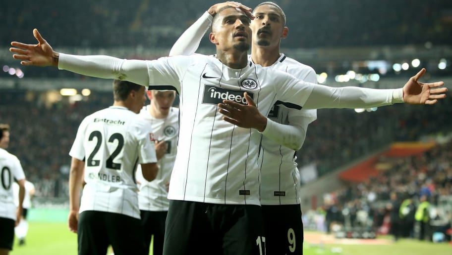 FRANKFURT AM MAIN, GERMANY - FEBRUARY 19: Kevin Boateng (L) of Frankfurt celebrate a goal with team mate Sebastien Haller during the Bundesliga match between Eintracht Frankfurt and RB Leipzig at Commerzbank-Arena on February 19, 2018 in Frankfurt am Main, Germany.  (Photo by Alex Grimm/Bongarts/Getty Images)