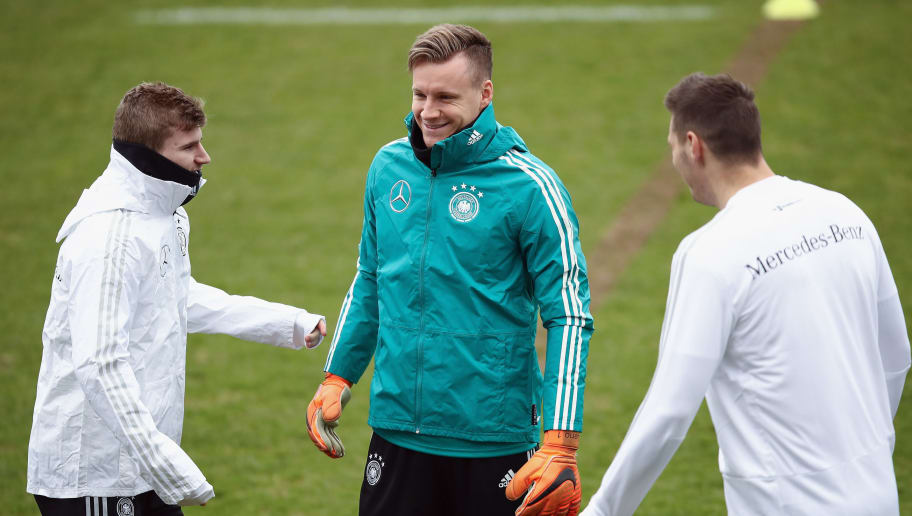 DUESSELDORF, GERMANY - MARCH 21: Timo Werner, Bernd Leno and Niklas Suele chat during a Germany training session ahead of their international friendly match against Spain at Paul-Janes-Stadion on March 21, 2018 in Duesseldorf, Germany.  (Photo by Maja Hitij/Bongarts/Getty Images)