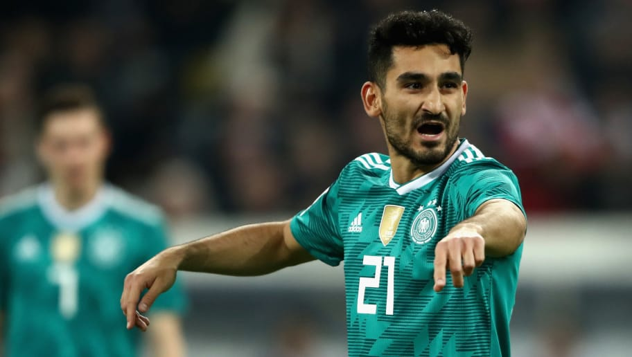 DUESSELDORF, GERMANY - MARCH 23:  Ilkay Gundogan of Germany reacts during the International friendly match between Germany and Spain at Esprit-Arena on March 23, 2018 in Duesseldorf, Germany.  (Photo by Alex Grimm/Bongarts/Getty Images)