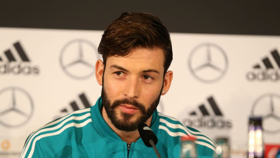 BERLIN, GERMANY - MARCH 25:  Marvin Plattenhardt of the German National Team attends a press conference at Mercedes Benz on March 25, 2018 in Berlin, Germany. (Photo by Joachim Sielski/Bongarts/Getty Images)