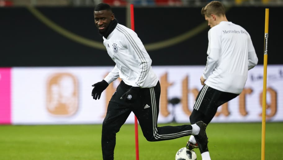 DUESSELDORF, GERMANY - MARCH 22: Antonio Ruediger controls the ball during a Germany training session ahead of their international friendly match against Spain at ESPRIT arena on March 22, 2018 in Duesseldorf, Germany. (Photo by Maja Hitij/Bongarts/Getty Images)