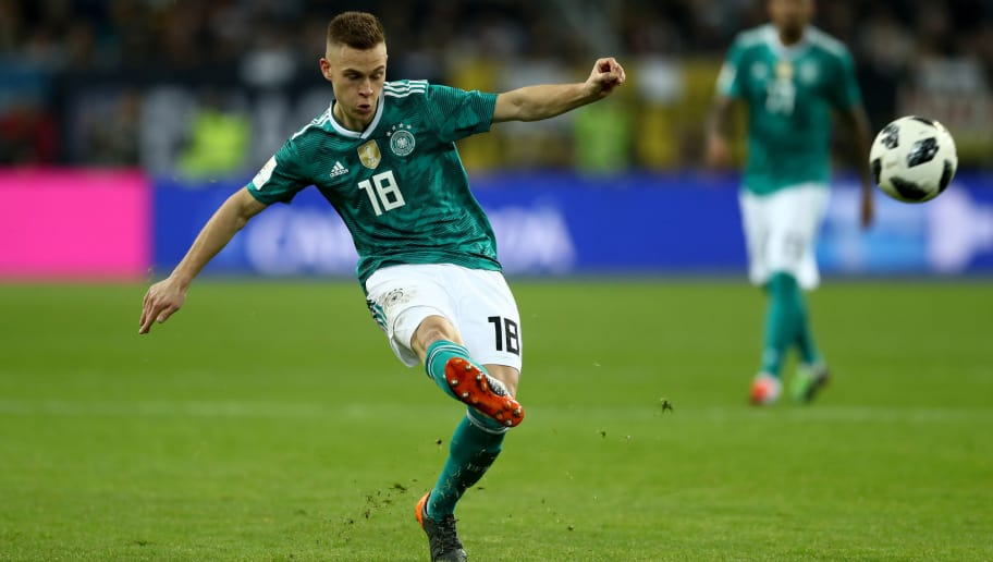 DUESSELDORF, GERMANY - MARCH 23:  Joshua Kimmich of Germany runs with the ball during the International Friendly match between Germany and Spain at Esprit-Arena on March 23, 2018 in Duesseldorf, Germany.  (Photo by Lars Baron/Bongarts/Getty Images)