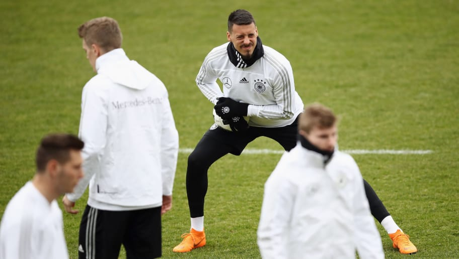 DUESSELDORF, GERMANY - MARCH 21: Sandro Wagner stretches during a Germany training session ahead of their international friendly match against Spain at Paul-Janes-Stadion on March 21, 2018 in Duesseldorf, Germany.  (Photo by Maja Hitij/Bongarts/Getty Images)