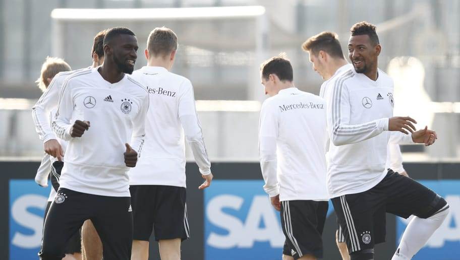 BERLIN, GERMANY - MARCH 25: Antonio Ruediger and Jerome Boateng at the training session of the German National Team at Schenkendorffplatz on March 25, 2018 in Berlin, Germany. (Photo by Joachim Sielski/Bongarts/Getty Images)