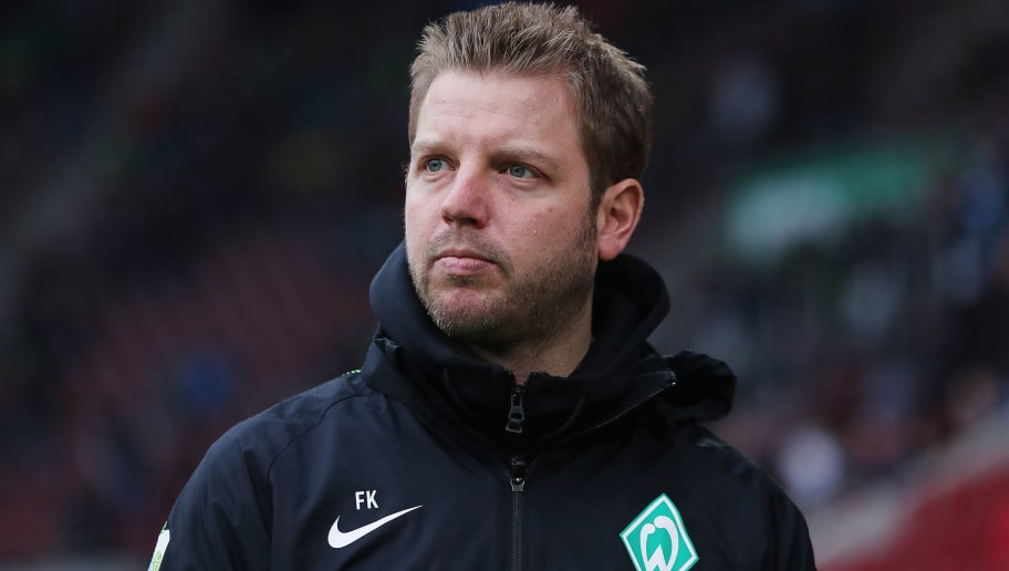 AUGSBURG, GERMANY - MARCH 17: Florian Kohfeldt, coach of Bremen, looks on before the Bundesliga match between FC Augsburg and SV Werder Bremen at WWK-Arena on March 17, 2018 in Augsburg, Germany. (Photo by Alex Grimm/Bongarts/Getty Images)