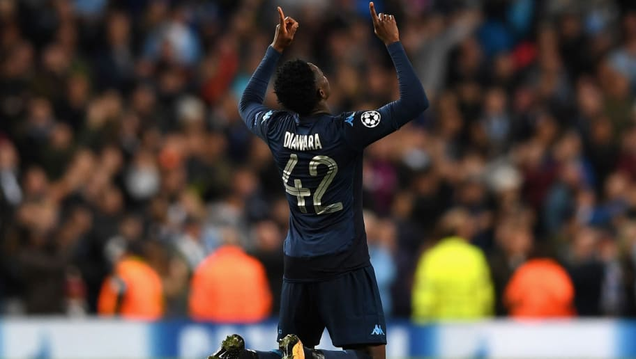 MANCHESTER, ENGLAND - OCTOBER 17: Amadou Diawara of SSC Napoli celebrates scoring his sides first goal during the UEFA Champions League group F match between Manchester City and SSC Napoli at Etihad Stadium on October 17, 2017 in Manchester, United Kingdom.  (Photo by Gareth Copley/Getty Images)