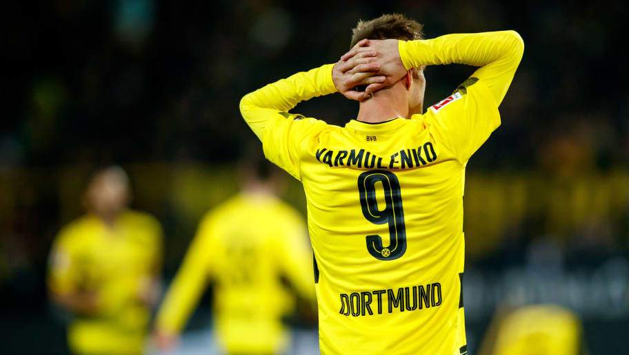 DORTMUND, GERMANY - DECEMBER 16:  Andrey Yarmolenko of Dortmund reacts during the Bundesliga match between Borussia Dortmund and TSG 1899 Hoffenheim at Signal Iduna Park on December 16, 2017 in Dortmund, Germany.  (Photo by Lars Baron/Bongarts/Getty Images)