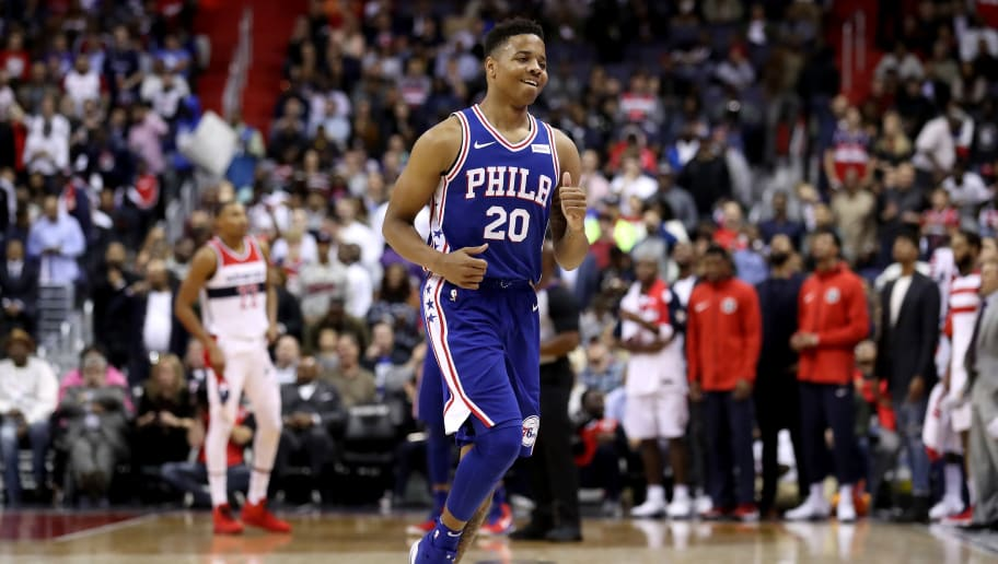 WASHINGTON, DC - OCTOBER 18: Markelle Fultz #20 of the Philadelphia 76ers jogs off the court against the Washington Wizards at Capital One Arena on October 18, 2017 in Washington, DC. NOTE TO USER: User expressly acknowledges and agrees that, by downloading and or using this photograph, User is consenting to the terms and conditions of the Getty Images License Agreement. (Photo by Rob Carr/Getty Images)