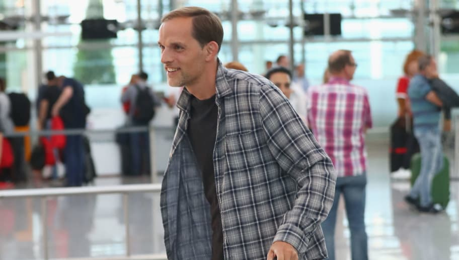 MUNICH, GERMANY - JULY 16:  Thomas Tuchel arrives at the airport on July 16, 2017 in Munich, Germany.  (Photo by Alexander Hassenstein/Bongarts/Getty Images)