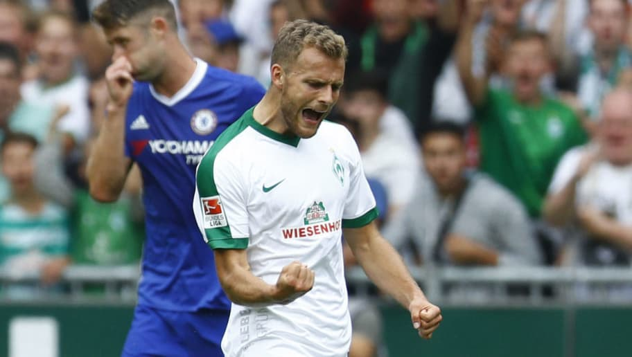 BREMEN, GERMANY - AUGUST 07: Goalgetter Lennart Thy of Bremen celebration his goal 2:3 during the pre-season friendly match between Werder Bremen and FC Chelsea at Weserstadion on August 7, 2016 in Bremen, Germany. (Photo by Joachim Sielski/Bongarts/Getty Images)