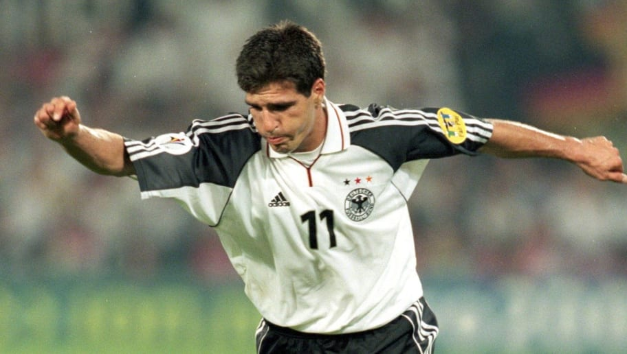 20 Jun 2000:  Paolo Rink of Germany in action during the European Championships 2000 group match against Portugal at the De Kuip Stadium in Rotterdam, Holland.  Portugal won the match 3-0. \ Mandatory Credit: Gary M Prior/Allsport