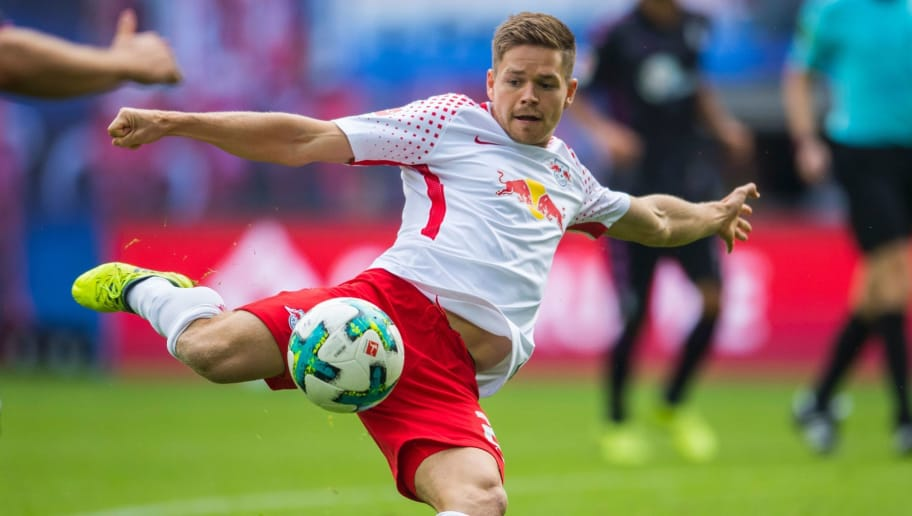 Leipzig's midfielder Dominik Kaiser plays the ball during the German first division Bundesliga football match between RB Leipzig and SC Freiburg in Leipzig, eastern Germany on August 27, 2017.  / AFP PHOTO / ROBERT MICHAEL        (Photo credit should read ROBERT MICHAEL/AFP/Getty Images)