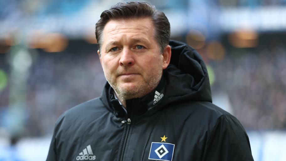 HAMBURG, GERMANY - MARCH 17:  Head coach Christian Titz of Hamburg looks on prior to the Bundesliga match between Hamburger SV and Hertha BSC at Volksparkstadion on March 17, 2018 in Hamburg, Germany.  (Photo by Oliver Hardt/Bongarts/Getty Images)