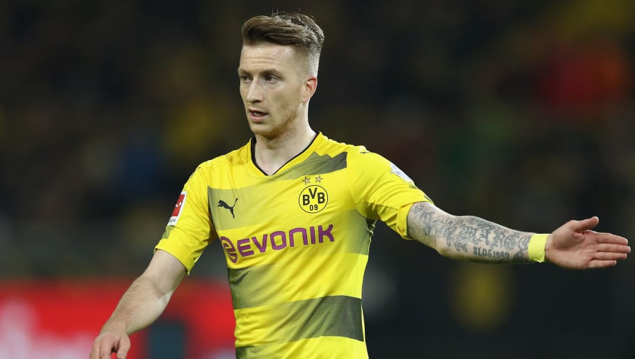 DORTMUND, GERMANY - MARCH 11:  Marco Reus of Dortmund gestures during the Bundesliga match between Borussia Dortmund and Eintracht Frankfurt at Signal Iduna Park on March 11, 2018 in Dortmund, Germany.  (Photo by Lars Baron/Bongarts/Getty Images)
