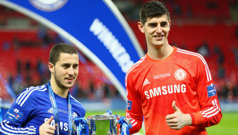 LONDON, ENGLAND - MARCH 01:  Eden Hazard and Thibaut Courtois of Chelsea pose with the trophy during the Capital One Cup Final match between Chelsea and Tottenham Hotspur at Wembley Stadium on March 1, 2015 in London, England.  (Photo by Clive Mason/Getty Images)