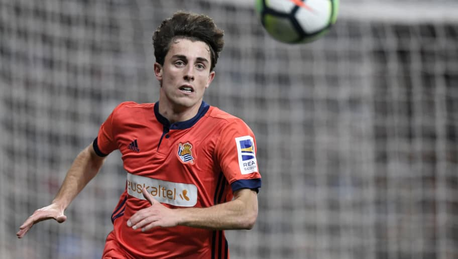 Real Sociedad's Spanish defender Alvaro Odriozola eyes the ball during the Spanish league football match between Real Madrid CF and Real Sociedad at the Santiago Bernabeu stadium in Madrid on February 10, 2018. / AFP PHOTO / GABRIEL BOUYS        (Photo credit should read GABRIEL BOUYS/AFP/Getty Images)