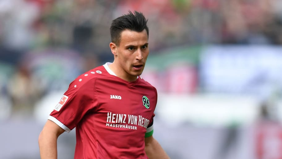 HANOVER, GERMANY - MAY 14:  Edgar Prib of Hannover in action during the Second Bundesliga match between Hannover 96 and VfB Stuttgart at HDI-Arena on May 14, 2017 in Hanover, Germany.  (Photo by Stuart Franklin/Bongarts/Getty Images)