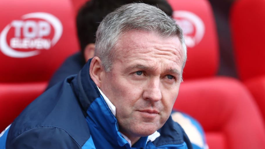 STOKE ON TRENT, ENGLAND - MARCH 17:  Paul Lambert, Manager of Stoke City looks on during the Premier League match between Stoke City and Everton at Bet365 Stadium on March 17, 2018 in Stoke on Trent, England.  (Photo by Matthew Lewis/Getty Images)