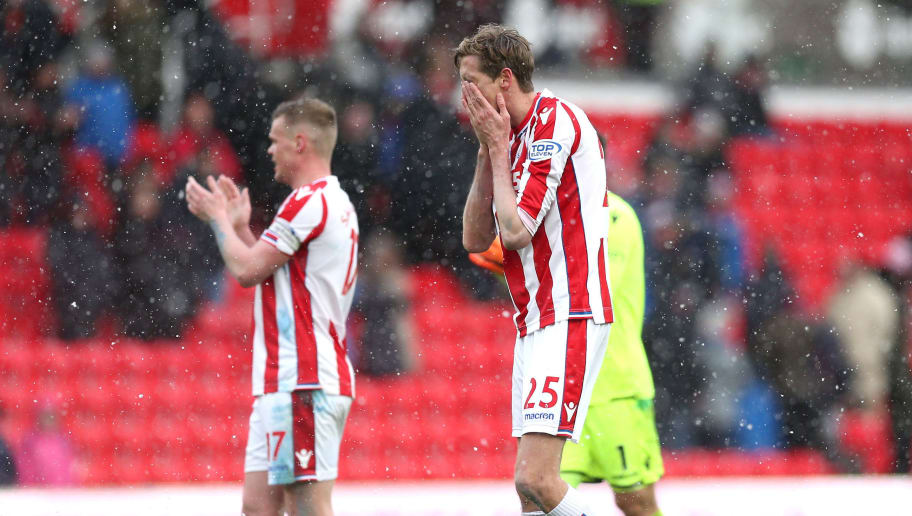 STOKE ON TRENT, ENGLAND - MARCH 17:  Peter Crouch of Stoke City reacts following the Premier League match between Stoke City and Everton at Bet365 Stadium on March 17, 2018 in Stoke on Trent, England.  (Photo by Alex Morton/Getty Images)