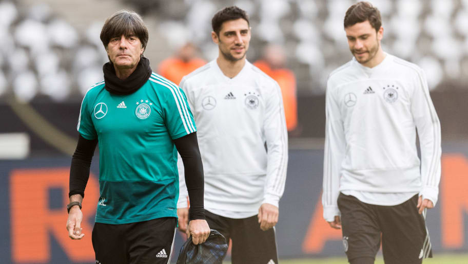 BERLIN, BERLIN - MARCH 26:  Head coach Joachim Loew of Germany arrives to the training session of the German National Team at Olympiastadion on March 26, 2018 in Berlin, Germany.  (Photo by Boris Streubel/Bongarts/Getty Images)