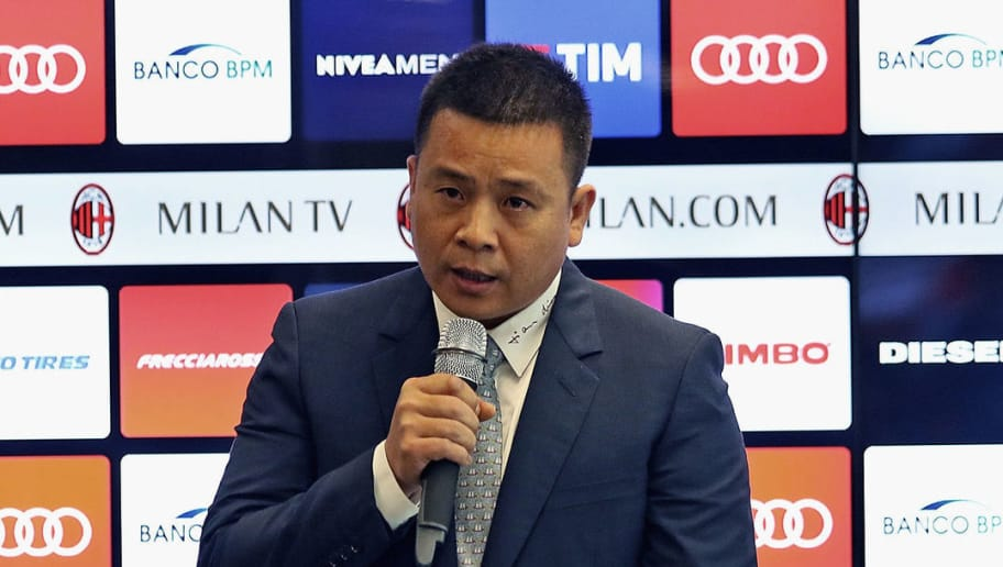 MILAN, ITALY - APRIL 14:  In this handout photo provided by AC Milan,  New AC Milan Owner and President Yonghong Li attends a press conference to unveil AC Milan new owners  on April 14, 2017 in Milan, Italy.  (Photo by Handout/Getty Images)