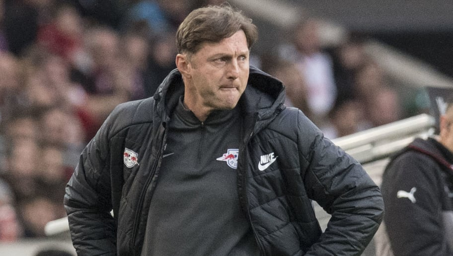 Leipzig's Austrian head coach Ralph Hasenhuettl reacts during the German first division Bundesliga football match VfB Stuttgart vs RB Leipzig in Stuttgart, southwestern Germany, on March 11, 2018. / AFP PHOTO / THOMAS KIENZLE / RESTRICTIONS: DURING MATCH TIME: DFL RULES TO LIMIT THE ONLINE USAGE TO 15 PICTURES PER MATCH AND FORBID IMAGE SEQUENCES TO SIMULATE VIDEO. == RESTRICTED TO EDITORIAL USE == FOR FURTHER QUERIES PLEASE CONTACT DFL DIRECTLY AT + 49 69 650050         (Photo credit should read THOMAS KIENZLE/AFP/Getty Images)