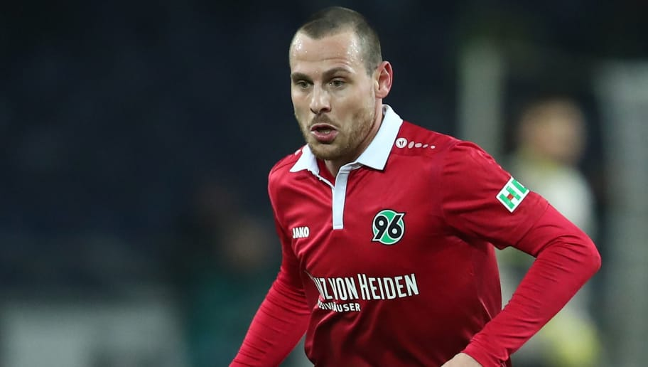 HANOVER, GERMANY - JANUARY 13: Marvin Bakalorz of Hannover in action during the Bundesliga match between Hannover 96 and 1. FSV Mainz 05 at HDI-Arena on January 13, 2018 in Hanover, Germany.  (Photo by Oliver Hardt/Bongarts/Getty Images)
