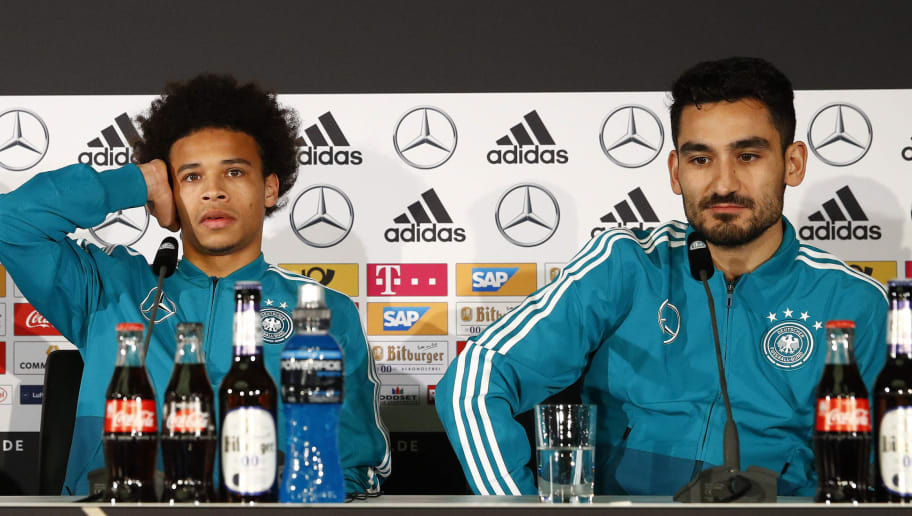 BERLIN, GERMANY - MARCH 25:  (L-R) Marvin Plattenhardt, Leroy Sane and Ilkay Guendogan of the German National Team attend a press conference at Mercedes Benz on March 25, 2018 in Berlin, Germany. (Photo by Joachim Sielski/Bongarts/Getty Images)