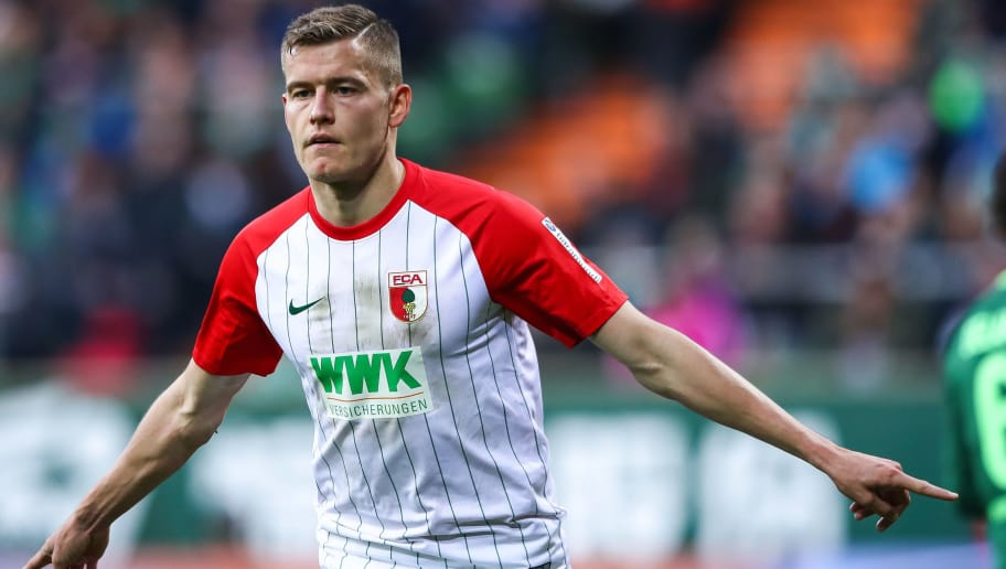 BREMEN, GERMANY - OCTOBER 29: Alfred Finnbogason #27 of Augsburg celebrates after scoring penalty shot to make it 0-2 during the Bundesliga match between SV Werder Bremen and FC Augsburg at Weserstadion on October 29, 2017 in Bremen, Germany. (Photo by Martin Rose/Bongarts/Getty Images)