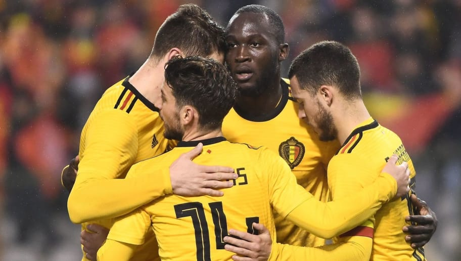 Belgium's forward Romelu Lukaku (2ndR) celebrates with teammates after scoring his second goal during a friendly international match between Belgium and Saudi Arabia at the King Baudouin stadium in Brussels on March 27, 2018.   / AFP PHOTO / Emmanuel DUNAND        (Photo credit should read EMMANUEL DUNAND/AFP/Getty Images)