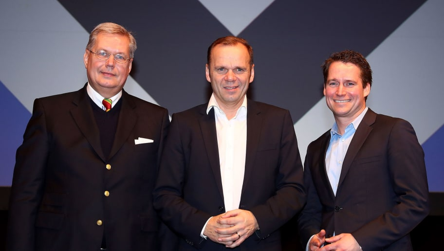 HAMBURG, GERMANY - FEBRUARY 18:  The new members of the board: (L-R) Thomas Schulz, vicepresident, Bernd Hoffmann, president and Moritz Schaefer, finance director of Hamburg Sport Verein e.V. pose for a phot after the Hamburger SV General Assembly at Kuppel on February 18, 2018 in Hamburg, Germany.  (Photo by Martin Rose/Bongarts/Getty Images)
