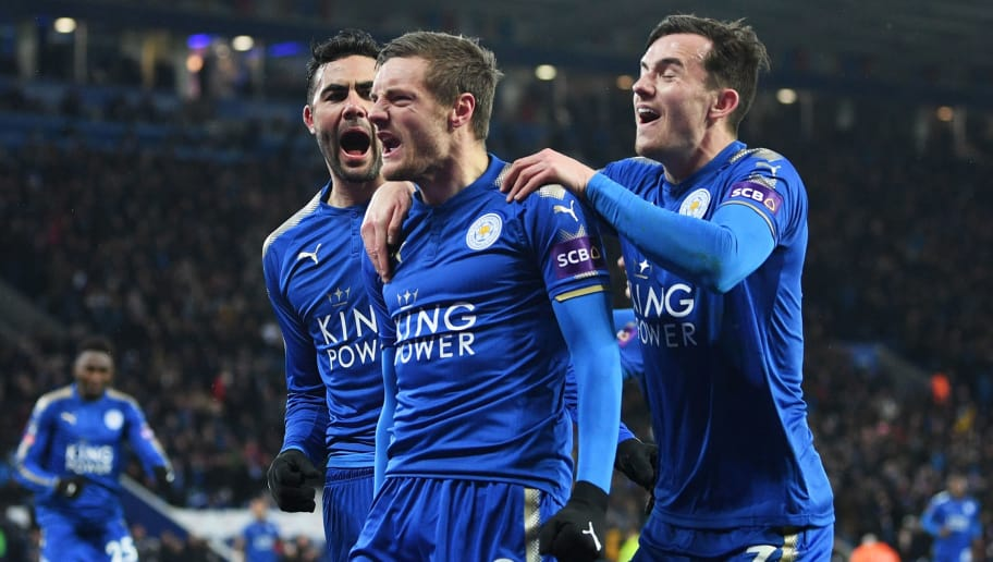 374238ea4 LEICESTER, ENGLAND - MARCH 18: Jamie Vardy of Leicester City (9) celebrates