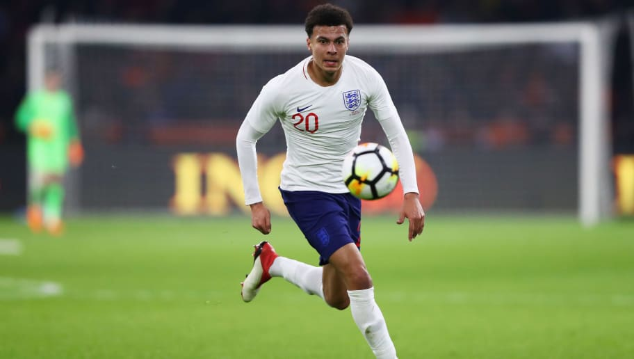 AMSTERDAM, NETHERLANDS - MARCH 23:  Dele Alli of England in action during the International Friendly match between Netherlands and England at Amsterdam ArenA also called the Johan Cruyff Arena on March 23, 2018 in Amsterdam, Netherlands.  (Photo by Dean Mouhtaropoulos/Getty Images)