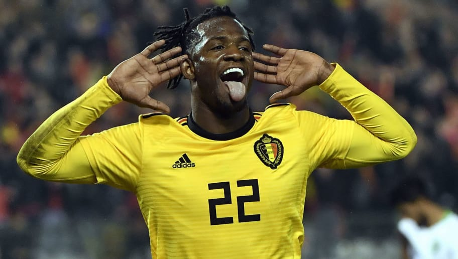 Belgium's Michy Batshuayi celebrates after scoring during their international frienldy match between Belgium and Saudi Arabia at the King Baudouin Stadium in Brussels on March 27, 2018.   / AFP PHOTO / BELGA / DIRK WAEM        (Photo credit should read DIRK WAEM/AFP/Getty Images)