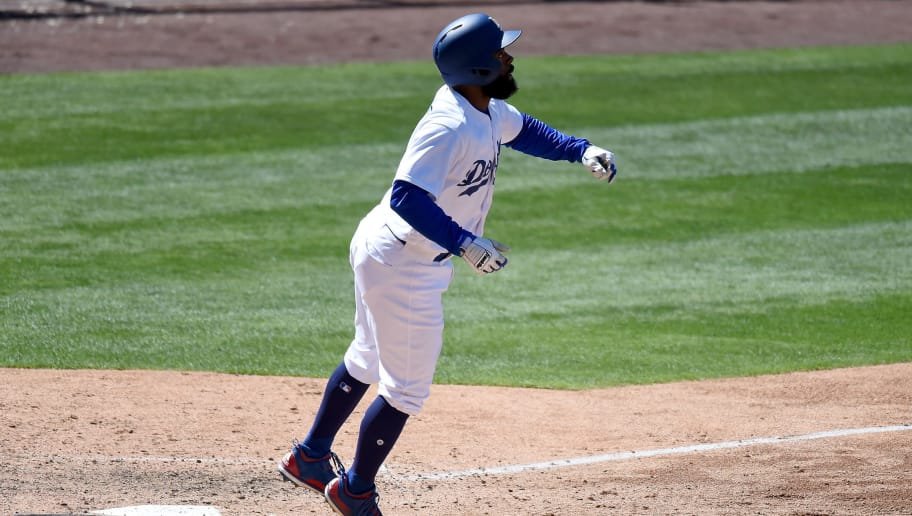 LOS ANGELES, CA - APRIL 30:  Andrew Toles #60 of the Los Angeles Dodgers hits a three run homerun in the sixth inning against the Philadelphia Phillies at Dodger Stadium on April 30, 2017 in Los Angeles, California.  (Photo by Lisa Blumenfeld/Getty Images)