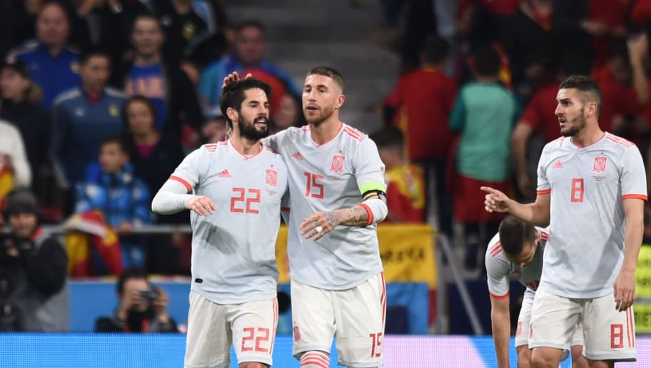 MADRID, SPAIN - MARCH 27:  Isco of Spain celebrates after scoring his sides second goal with Sergio Ramos of Spain and Koke of Spain during the International Friendly between Spain and Argentina on March 27, 2018 in Madrid, Spain.  (Photo by Denis Doyle/Getty Images)