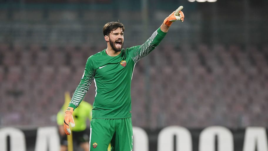 NAPLES, ITALY - MARCH 03:  Alisson of AS Roma in action during the serie A match between SSC Napoli and AS Roma - Serie A at Stadio San Paolo on March 3, 2018 in Naples, Italy.  (Photo by Francesco Pecoraro/Getty Images)