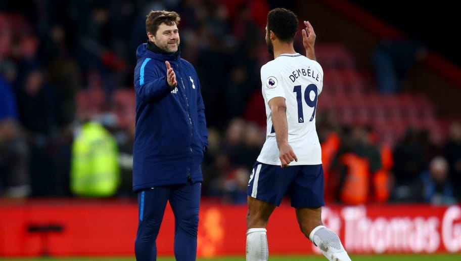 BOURNEMOUTH, ENGLAND - MARCH 11: Mauricio Pochettino, Manager of Tottenham Hotspur and Fernando Llorente of Tottenham Hotspur embrace after the Premier League match between AFC Bournemouth and Tottenham Hotspur at Vitality Stadium on March 11, 2018 in Bournemouth, England.  (Photo by Clive Rose/Getty Images)