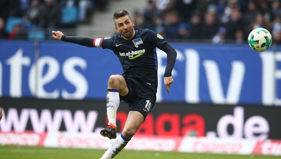 HAMBURG, GERMANY - MARCH 17: Vedad Ibisevic of Berlin in action during the Bundesliga match between Hamburger SV and Hertha BSC at Volksparkstadion on March 17, 2018 in Hamburg, Germany.  (Photo by Oliver Hardt/Bongarts/Getty Images)