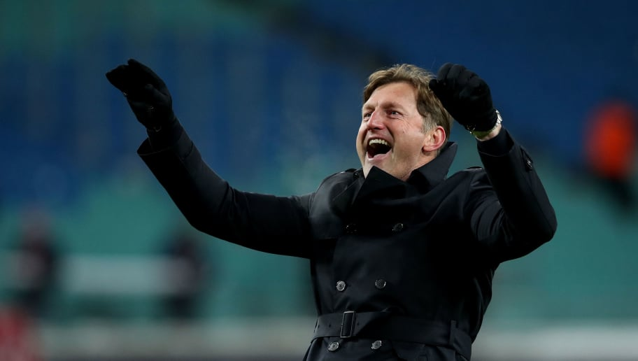 LEIPZIG, GERMANY - MARCH 18: Head coach Ralph Hasenhuettl of RB Leipzig celebrates after the Bundesliga match between RB Leipzig and FC Bayern Muenchen at Red Bull Arena on March 18, 2018 in Leipzig, Germany. (Photo by Ronny Hartmann/Bongarts/Getty Images)