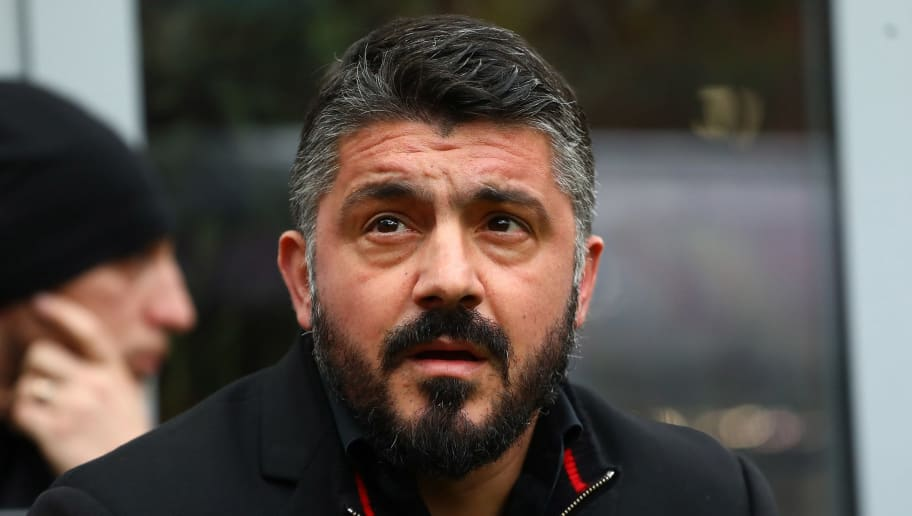 MILAN, ITALY - MARCH 18:  AC Milan coach Gennaro Gattuso looks on before the serie A match between AC Milan and AC Chievo Verona at Stadio Giuseppe Meazza on March 18, 2018 in Milan, Italy.  (Photo by Marco Luzzani/Getty Images)