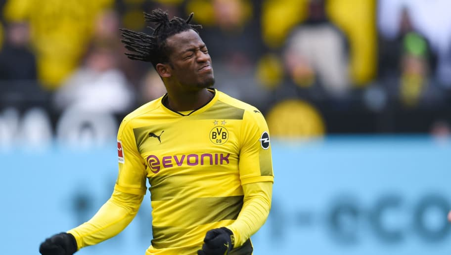 Dortmund's Belgian striker Michy Batshuayi reacts during the German first division Bundesliga football match Borussia Dortmund vs Hanover 96, in Dortmund, western Germany, on March 18, 2018. / AFP PHOTO / Patrik STOLLARZ / RESTRICTIONS: DURING MATCH TIME: DFL RULES TO LIMIT THE ONLINE USAGE TO 15 PICTURES PER MATCH AND FORBID IMAGE SEQUENCES TO SIMULATE VIDEO. == RESTRICTED TO EDITORIAL USE == FOR FURTHER QUERIES PLEASE CONTACT DFL DIRECTLY AT + 49 69 650050         (Photo credit should read PATRIK STOLLARZ/AFP/Getty Images)